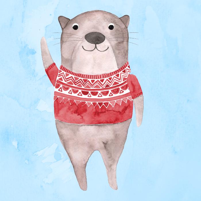 Otter - mit Hintergrund - quadratisch