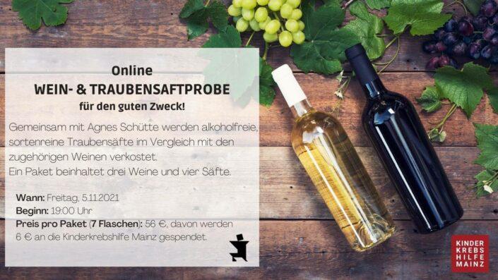 Online Wein- und Traubensaftprobe für den guten Zweck